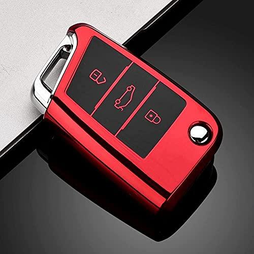 ZHSDTHJY Funda de TPU suave para llave de coche, para VW Golf 7 mk7 Seat Ibiza Leon FR 2 Altea Aztec para Octavia-B-rojo