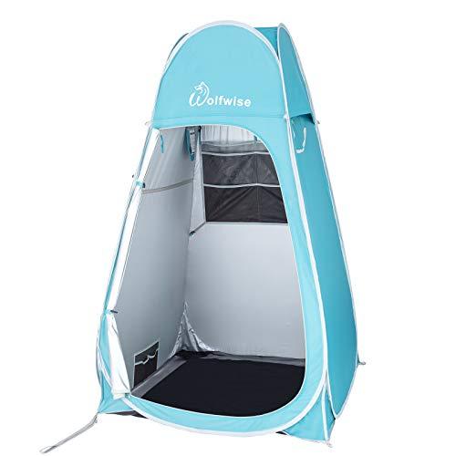 WolfWise Pop up Umkleidezelt Toilettenzelt Camping Duschzelt Mobile Outdoor Privatsphäre WC Zelt Lagerzelt Tragbar Türkis