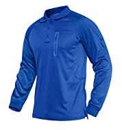 Button closure, Long sleeves, Regular fit Button Down: three buttons on the chest and neck, keep you cool and breathable after sweating Lightweight, Breathable and conmfortable. The special loop design below the buttons for hunging your Sunglasses, M...