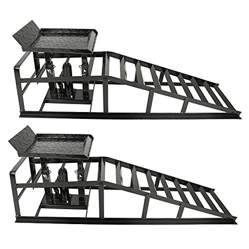 BETTERCLOUD Auto Car Truck Service Ramps 11000lbs Heavy Duty Hydraulic Lift Vertical Ramps 5T Jack Truck Service Ramp Heavy Duty Steel Car Ramp (Pack of 2, Black)
