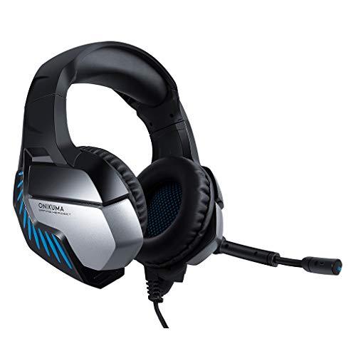 Sound Gaming Headset mit Vibrationsfunktion Wired Shocking Bass Gaming-Kopfhörer mit Mikrofon-Headset Professional Gaming Kopfhörer mit Mikrofon USB PC,PS4(Blau)