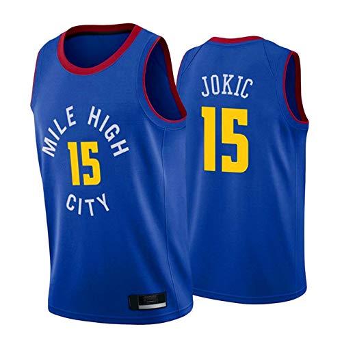 HRTE Nuggets # 15 Jokic - Camiseta de baloncesto para hombre, 2021, sin mangas, camiseta deportiva, uniforme de entrenamiento para equipos al aire libre, color azul