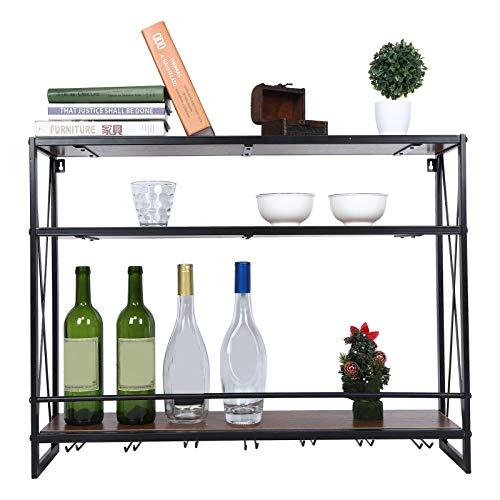 Soporte para botellas de vino vintage, de pared, con soporte para 3 botellas, de metal, para cocina, comedor, bodega, bar, 80 x 20 x 62 cm