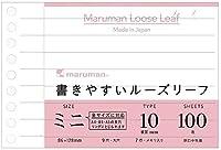 マルマン 書きやすいルーズリーフ ミニ B7変形 10mm横罫 100枚 L1434 【× 2 冊 】
