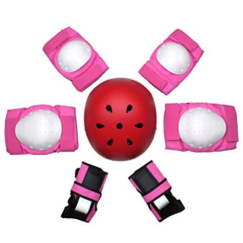 TBATM Helm + Ellbogenschützer + Handballenschutz + Kniepolster, BMX Skating Roller Rollerblade Radfahren Skateboard Schutzausrüstung Set 7tlg,Red