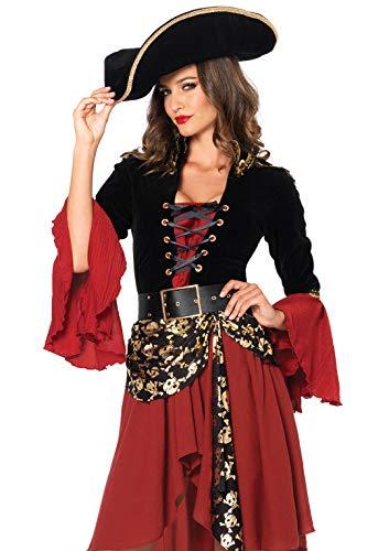 Leg Avenue 85214 - Set per costume da Pirata, Donna, 2 pz, M, Nero/Rosso