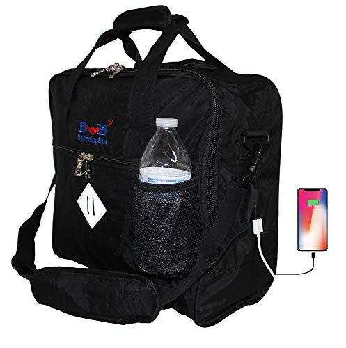 16' Personal item Under Seat Duffel Bag for Allegiant Airlines w USB Port (Black)