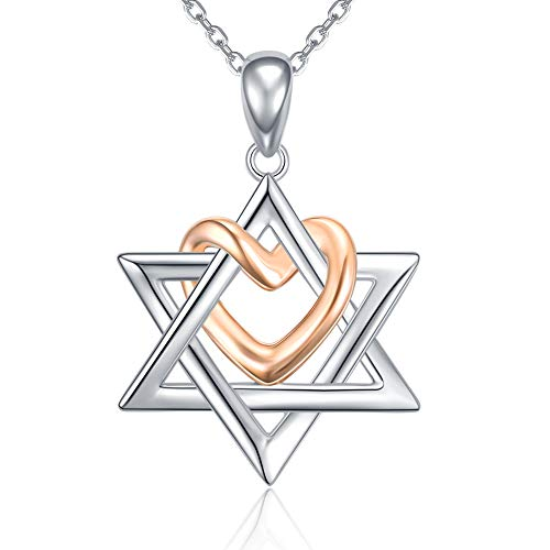 925 Silver Star of David pendant with Rose Gold Heart Necklace Mother Day Jewelry Gift for Mom Women Girls