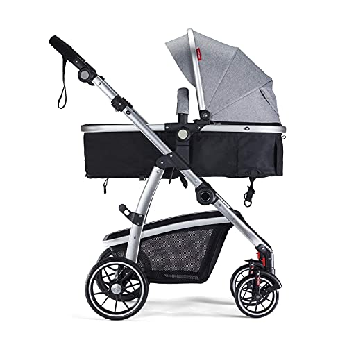 HAGADAY Baby Bassinet Stroller for Newborn,High Landscape Reversible Carriage Infant Strollers, Large Seat for Babies pram with Foot Cover& Canopy & Rain Cover(Grey)