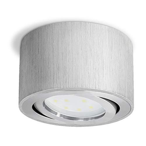 CELI-1A Deckenspot LED flach - Aufbauleuchte schwenkbar in Alu gebürstet inkl. fourSTEP LED 5W neutralweiß Dimmbar ohne Dimmer