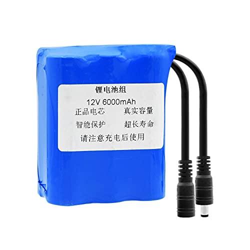 MeGgyc 1 Uds 12V 6000mAh Li-Ion 18650 batería (6X 18650 Celdas de Litio) Recargable con Enchufe de CC de 5,5x2,1mm para Modelo RC DIY Power Bank