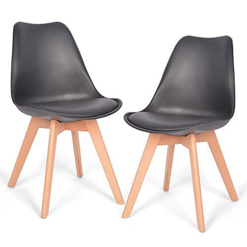 Mingone 2er Set Schwarz polsterstühle eßzimmer kein recycelter Kunststoff Stühle Massivholzbeine Weiß (Schwarz)