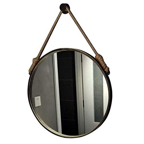 FENGMI Espejos Redondos Retro Espejo de Maquillaje for Colgar en la Pared con Marco y Cuerda de Metal (Size : 50cm)