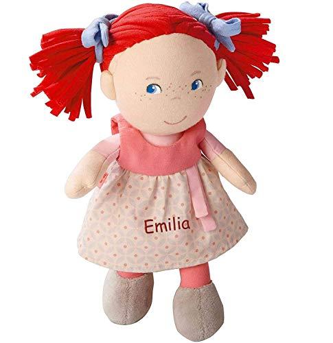 HABA Stoffpuppe Mirli mit Namen Bestickt, weiche Erste Baby Puppe mit Kleidung und Haaren, 0-5 Jahre Kuschelpuppe Taufgeschenk, Anziehpuppe Kuschelpuppe 5737 in Geschenkverpackung
