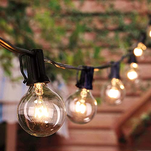 Brightown Outdoor String Lights 25FT G40 Globe Patio Lights with 27 Edison Glass Bulbs(2 Spare), Waterproof Connectable Hanging Light for Backyard Porch Balcony Party Decor, E12 Socket Base,Black