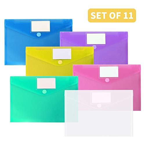 Plastic Envelopes Poly Envelopes, OUTYLTS 11 Pack Clear Document Folders US Letter A4 Size File Envelopes with Label Pocket & Paste Button for School Home Work Office Organization, Assorted Color