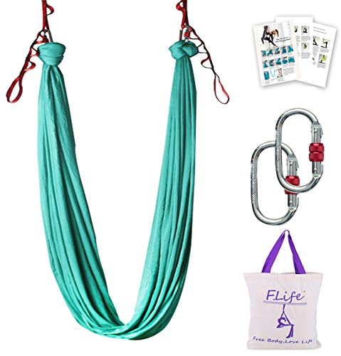 Aerial Yoga Hammock 55 Yards Premium Aerial Silk Fabric Yoga Swing for Antigravity Yoga Inversion Include Daisy ChainCarabiner and Pose Guide Turquoise