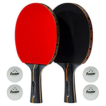 Franklin Sports Table Tennis Paddle Set - Official Size Rubber Ping Pong Paddle - Pro Carbon Core - 2 Paddles & 4 Three Star Ping Pong Balls