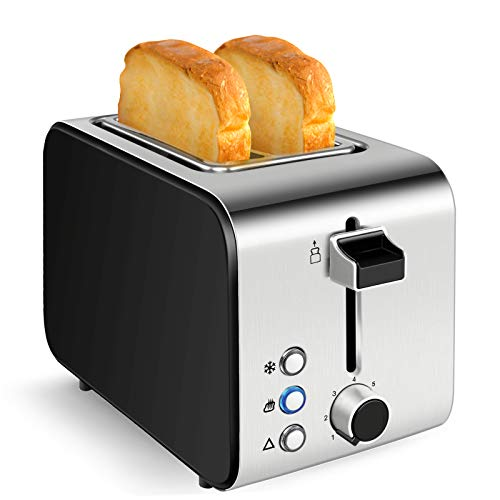 """Toaster 2 Slice Stainless Steel 800 Watt, Extra Wide 1.5"""" Slots, 7 Toast Setting,Defrost, Reheat, Cancel Functions, Removable Crumb Tray, Auto Shutoff"""