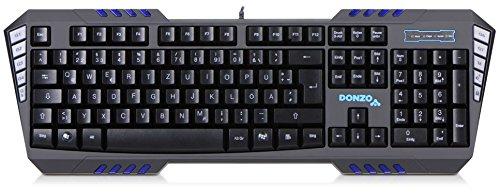 DONZO SI-855 programmierbare USB Gaming Tastatur beleuchtet / 7 Makro-Tasten mit bis zu 35 Makros / 115 Tasten/QWERTZ Layout/für PC mit Kabel/LED blau - Gamer Keyboard schwarz
