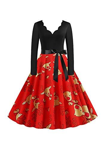 EFOFEI Damen Rockabilly Kleid Lange Kleider Frauen Sommer Festliche Damenkleider Knielang Damen Vintage Bodycon Abend Party Prom Swing Dress rot L