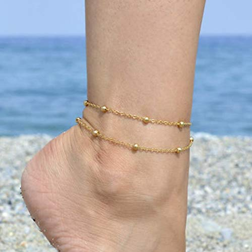 Aukmla Dainty Gold Boho Anklet Double Layered Satellite Ankle Bracelets Foot Accessories for Women and Girls