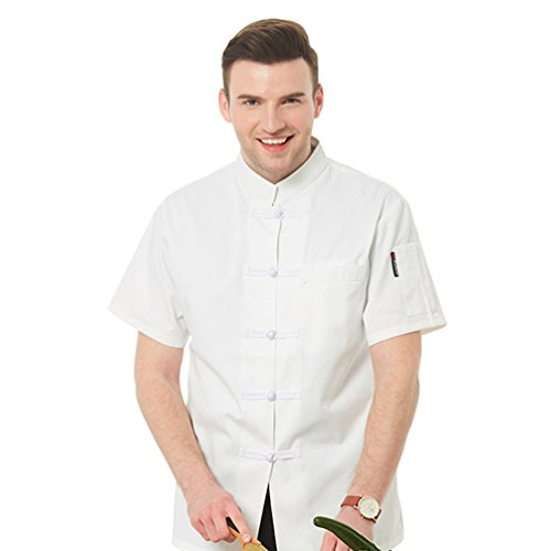 Dooxi Unisex Herren und Damen Sommer Kurzarm Kochjacke Mode Atmungsaktiv Stoffschnalle Westliches Restaurant Küche Hotel Uniform Berufsbekleidung Weiß(Stoffschnalle) L