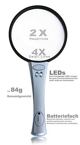 UniqueUnits Lupe mit Licht – Praktische und leicht Leselupe für Kinder und Senioren – 2x 4x Vergrößerungsglas – Handlupe, LED, Silber - 3
