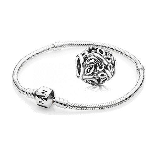 Original PANDORA Starterset / Geschenkset 925er Sterling Silber - 1 Silber Armband - Länge 18 cm - Art.Nr. 590702HV-18 und 1 Filigranes Silber Element Durchbrochener Schmetterlingsschwarm - Art.Nr. 790895