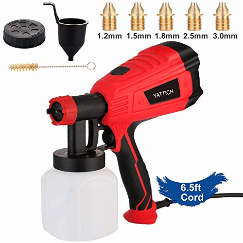YATTICH Paint Sprayer, 500 Watt Home Electric Spray Gun, with 3 Patterns and 5 Copper Nozzles,...