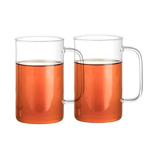 GAIWAN PURE550 x2: Teegläser Set mit Henkel, Große Teetasse aus Glas, Teeglas mit Nutzvolumen 500 ml, Gesamtvolumen 550 ml