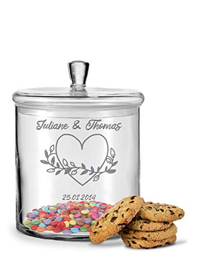 GRAVURZEILE Leonardo Keksglas mit Gravur - Keksdose Bonbonglas mit Deckel - Vorratsdose personalisiert mit Namen & Datum - Geschenk für Paare, zur Hochzeit als Geldgeschenk Farbe Herzenssache
