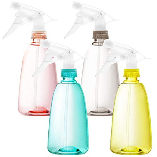 Youngever 4 Pack Empty Plastic Spray Bottles, Spray Bottles for Hair and Cleaning Solutions, 4 Pack 16 Ounce Bottles in 4 Colors