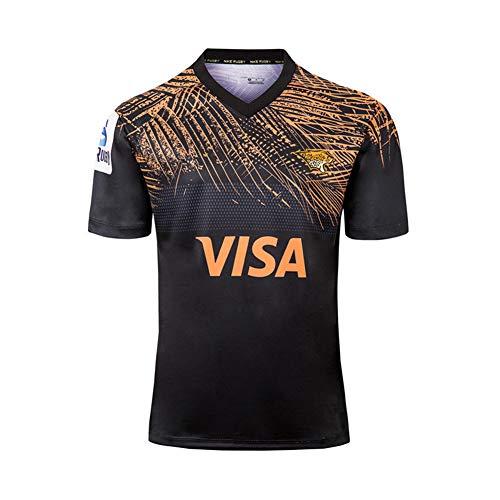WYNBB 2019 Weltmeisterschaft Rugby Jersey Jaguar zu Hause/unterwegs Rugby-Trikot für Männer Kurzarm-Freizeit-T-Shirt-Trainingsanzüge,Black,2XL/185-190CM