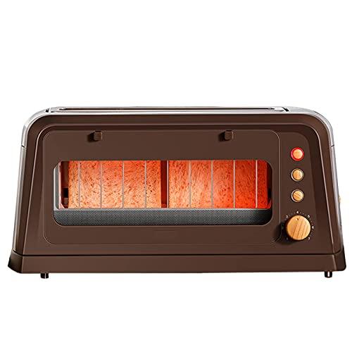 Tostadora, Máquina de desayuno multifunción Home Toast Sandwich Maker 2 Rebanada, 7 niveles de sabor ajustable, cuerpo transparente, con función de recaliente / descongelación / cancelación, 810W