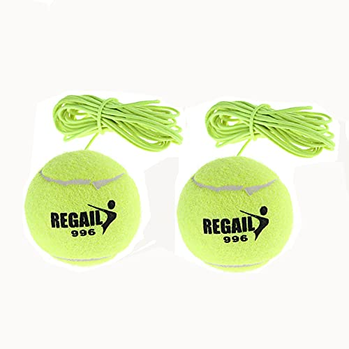 2 Pezzi Palla Allenamento Tennis, Tennis Trainer, Elasticità Palla Allenamento Tennis, Strumento di Allenamento per Tennis Portatile di Auto Pratica con Corda Elastica, Verde.
