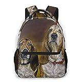 MAYBELOST Mochila casual de doble hombro,Basset Hound pintado con collar de perro,Mochila ligera y duradera Mochila deportiva para viajes de negocios Mochila para adolescentes adultos