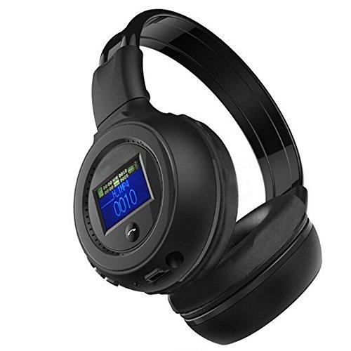 Wireless Bluetooth Headphones, Desxz B570 LCD Display Screen Foldable 3.5MM Wired Stereo Handsfree with Mic FM Radio TF Card Slot (Black)