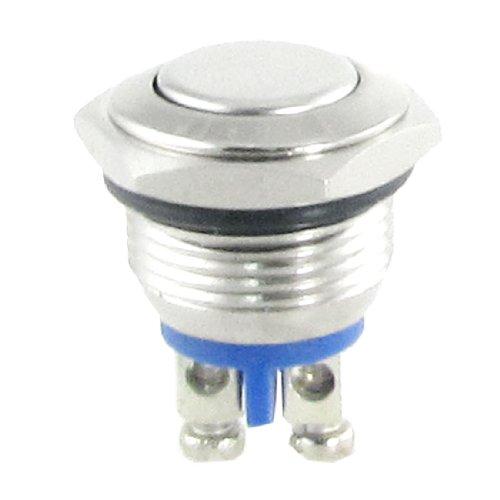 TOOGOO(R) AC 250V 3A NO 16mm Interruptor de boton pulsador redondo momentaneo del metal NO. Normalmente abierto