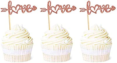 Ercadio 24 Pack Rose Gold Love Cupcake Toppers with Arrow Glitter Sweet Valentine's Day Cupcake Picks Decorations for Wedding Engagement Bridal Shower Birthday Valentine Theme Party Supplies