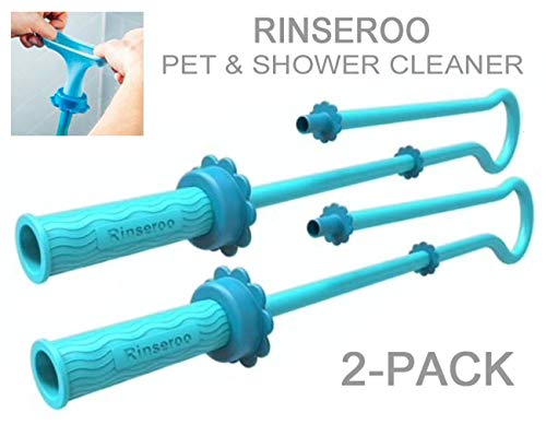 Authentic Rinseroo 2-Pack: Slip-on, Shower Cleaning/Dog Bathing Tools for Showerhead/Sink Faucets. Portable Sprayer Attachment Hoses. Rinse, Clean, Bathe, Wash, Groom (Note Tub Spout Warning)