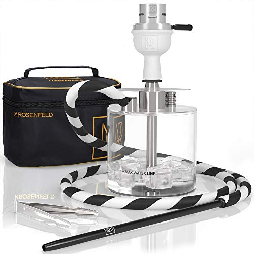 Portable Hookah Set with Everything - Acrylic Lightweight Hookah to Go with ONE Coal HMD and White Clay Bowl - Hookah Shisha Stable - Hookah Complete Set with Bag
