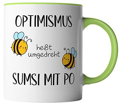 vanVerden Tasse - Optimismus heißt umgedreht Sumsi mit Po - beidseitig Bedruckt - Geschenk Idee Kaffeetassen, Tassenfarbe:Weiß/Grün