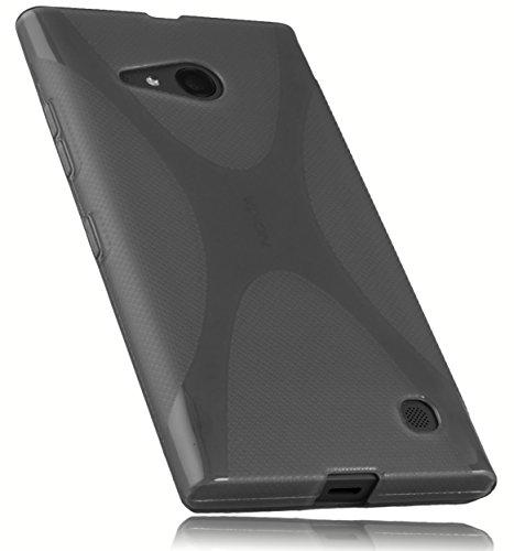 mumbi Hülle kompatibel mit Nokia Lumia 730 / 735 Handy Hülle Handyhülle, transparent schwarz