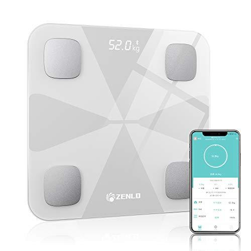 体重計 体組成計 体脂肪計 Bluetooth デジタル 高精度 体重/体脂肪率/体水分率/筋肉量/内臓 脂肪/タンパク質/BMI測定可能 ボディスケール 電源自動ON/OFF 薄型 健康管理 肥満予防 iOS/Android 対応 スマホでデータ管理 … (白)