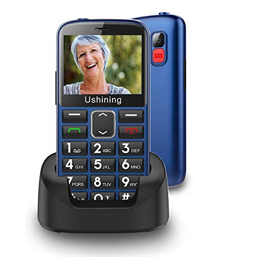 GSM Big Button Mobile Phone for Elderly,Dual Sim Free Basic Mobile Phone,Unlocked Senior Phone with SOS Button   Speed Dial   1000mAh   HAC   Torch Side Buttons   Bluetooth   Charging Dock-Blue
