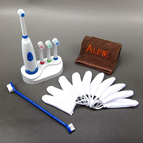 Alfie Pet - Teal Toothbrush, Finger Gloves, Electric Toothbrush and Microfiber Fast-Dry Washcloth Set