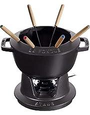 STAUB Juego de Fondue con 6 tenedores, Para fondue de queso, chocolate y carne, De hierro fundido