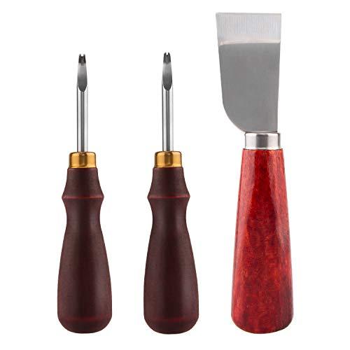 LUTER 2 Stück Leder Kantenabschrägung 2 Größen (1mm, 1.5mm) und 1 Stück Lederschneidemesser Schälmesser Holzgriff Werkzeuge für DIY-Lederhandwerk