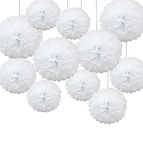 Pompons Papier,24 PCS Décorations de Pompons Blanc Papier de Soie Suspension Boule Papier Fleurs Papier Lanterne pour Fête Anniversaire Mariage Bébé Douche Fête